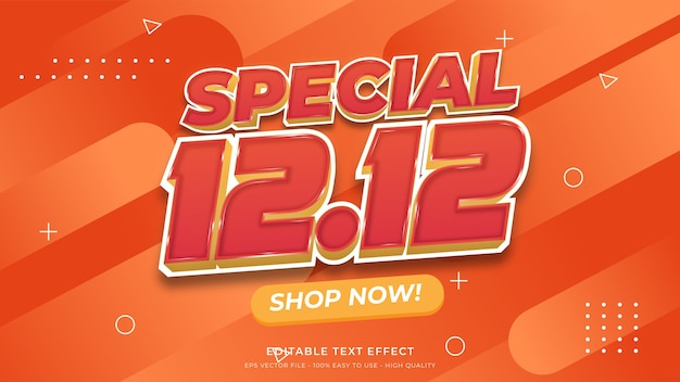 12.12 스페셜 세일 타이포그래피 편집 가능한 텍스트 효과 프리미엄 벡터