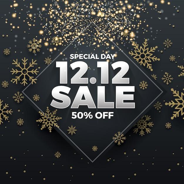 12.12ショッピング日の販売のバナーの背景 Premiumベクター