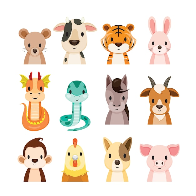 12 animals chinese zodiac signs objects set Premium Vector