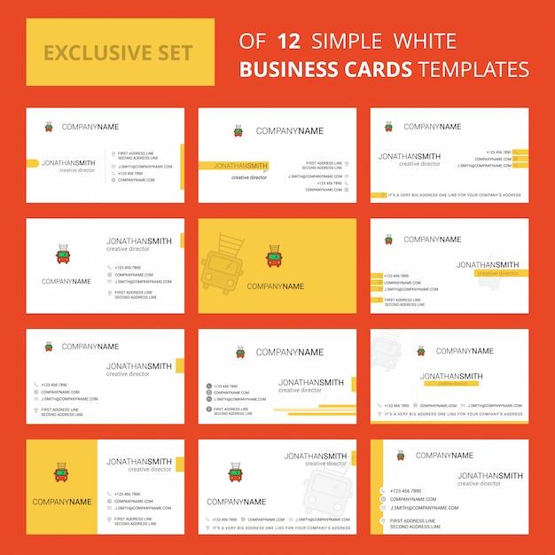 Набор из 12 пожарной машины грузовик creative busienss card template. Бесплатные векторы