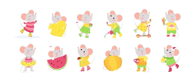 12 cute little mice cartoon characters. big set with cute animals. Free Vector