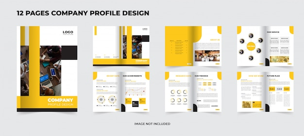 12 страниц корпоративный профиль компании премиум дизайн Premium векторы
