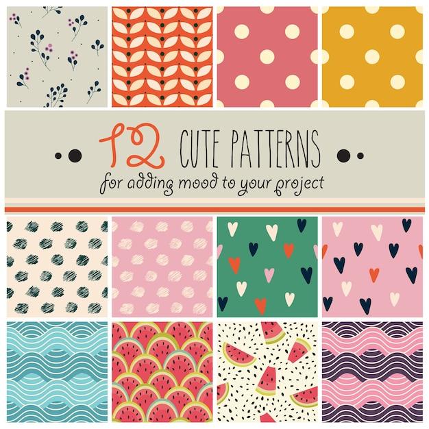 12 patterns set in cute childish style Premium Vector