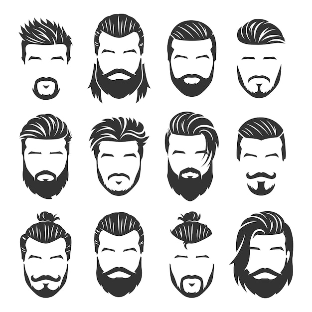 12 set of vector bearded men faces Premium Vector