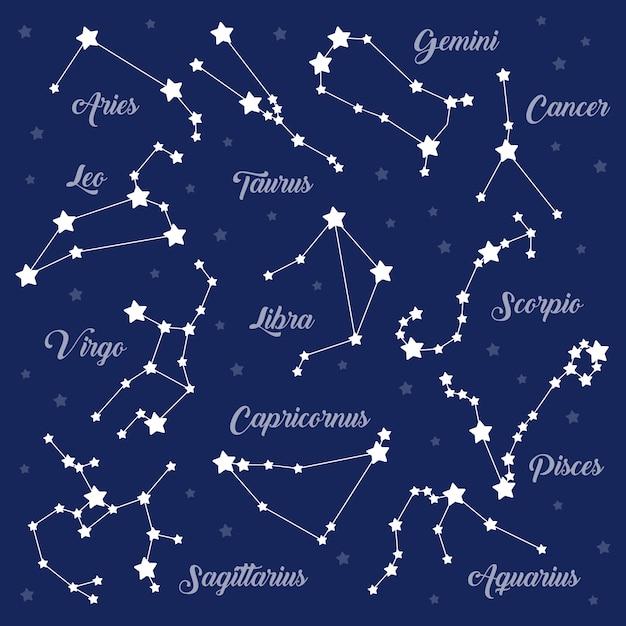 12 zodiac signs constellations set on dark Premium Vector