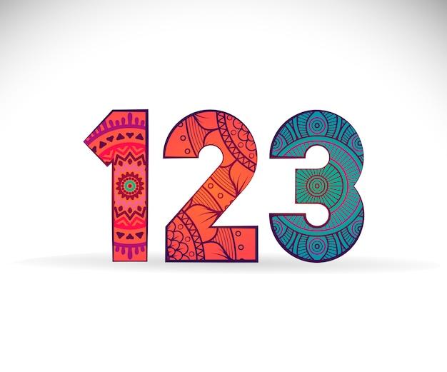 123 Digits With Mandala Design Vector