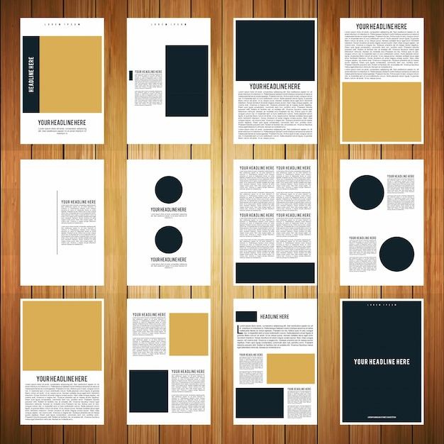 12ページのパンフレットブックテンプレート 無料ベクター