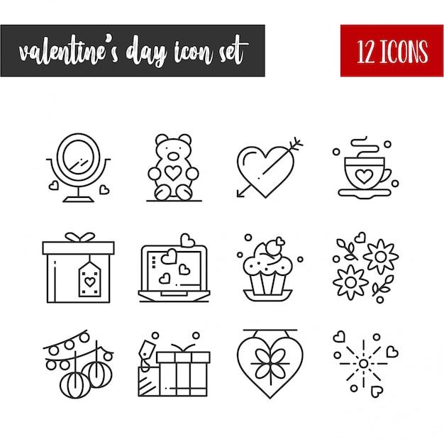 幸せなバレンタインデーの概要12のアイコンを設定 無料ベクター