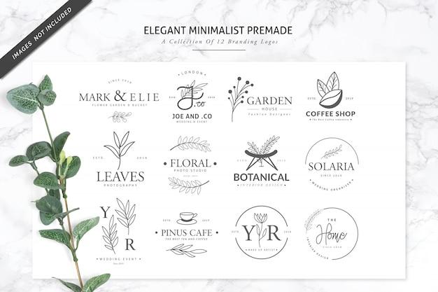 12花屋またはスパ用のエレガントなミニマリストの既製のブランドロゴ Premiumベクター