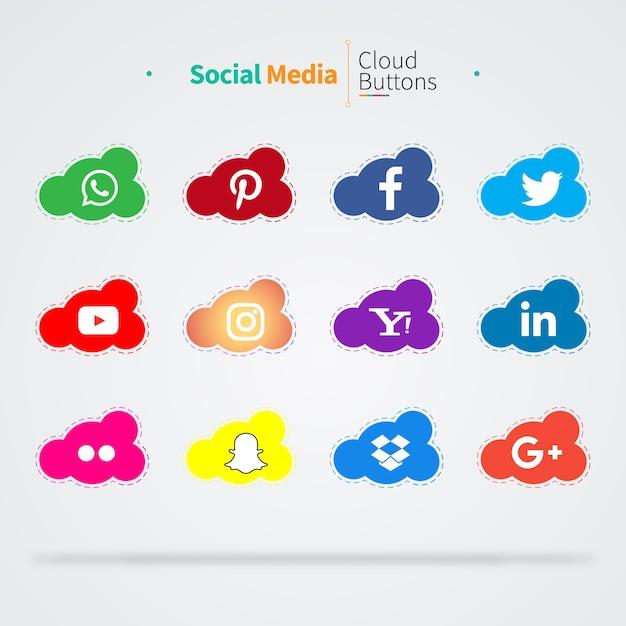 12 значки социальных медиа-облаков Premium векторы