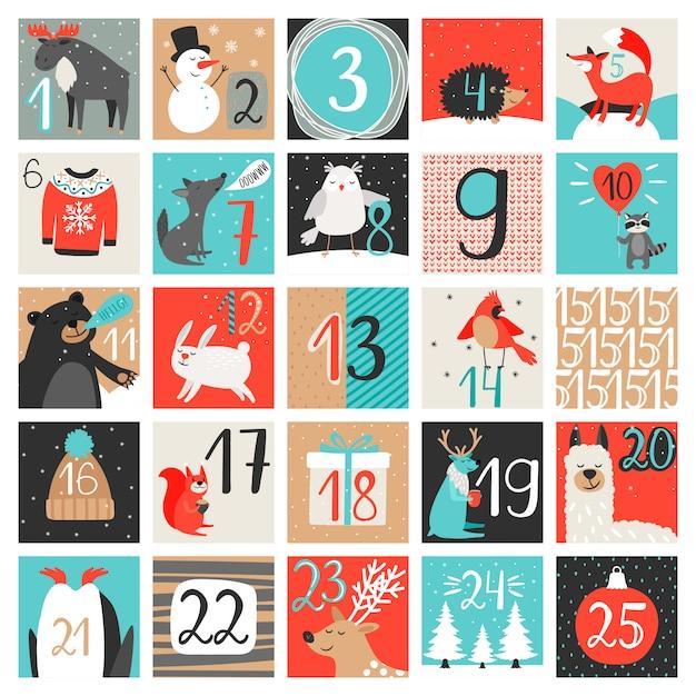 アドベントカレンダー。 12月のカウントダウンカレンダー、クリスマスイブの数字で設定された創造的な冬 Premiumベクター