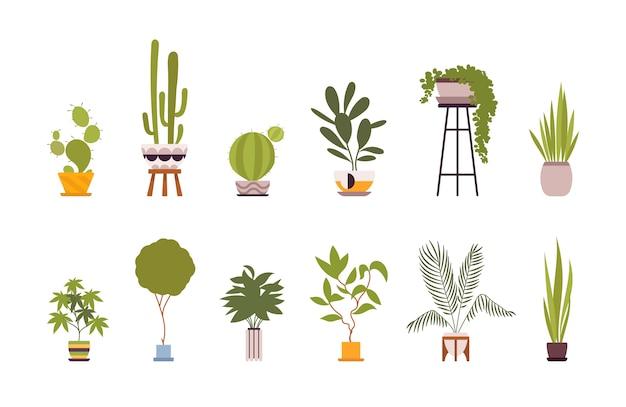 レトロなポットで12の緑の床植物のセット Premiumベクター