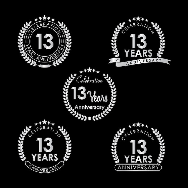 13 Years Anniversary Celebration Label With Laurel Wreath Vector
