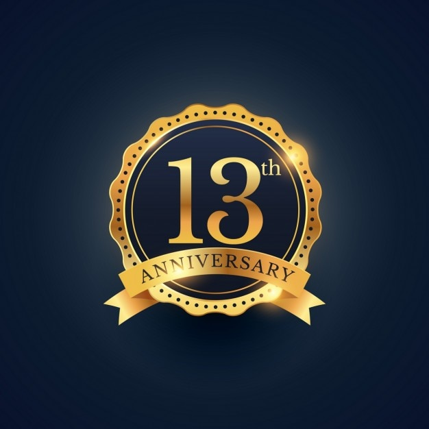 13th anniversary, golden edition Free Vector