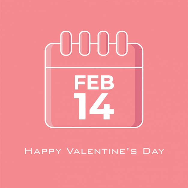 14 february calendar in pink tone color in flat design style Premium Vector