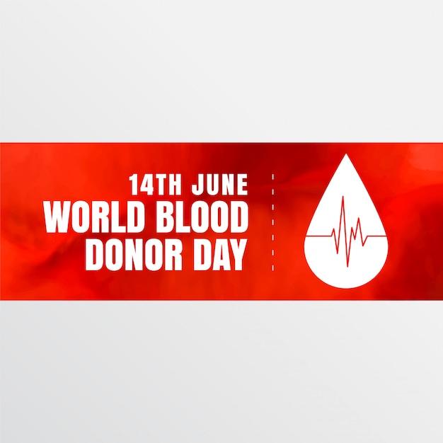 Знамя дня донора крови 14 июня Бесплатные векторы