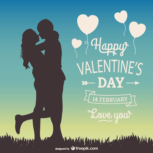 14th February greeting card Free Vector