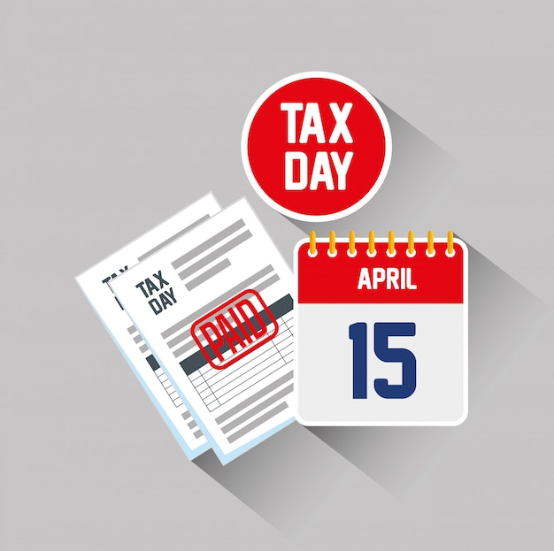 15 april. service tax report document with calendar Free Vector