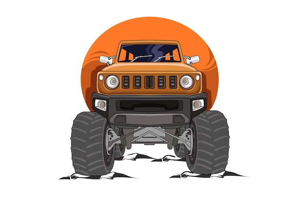 15. the orange off road monster truck illustration vector Premium Vector