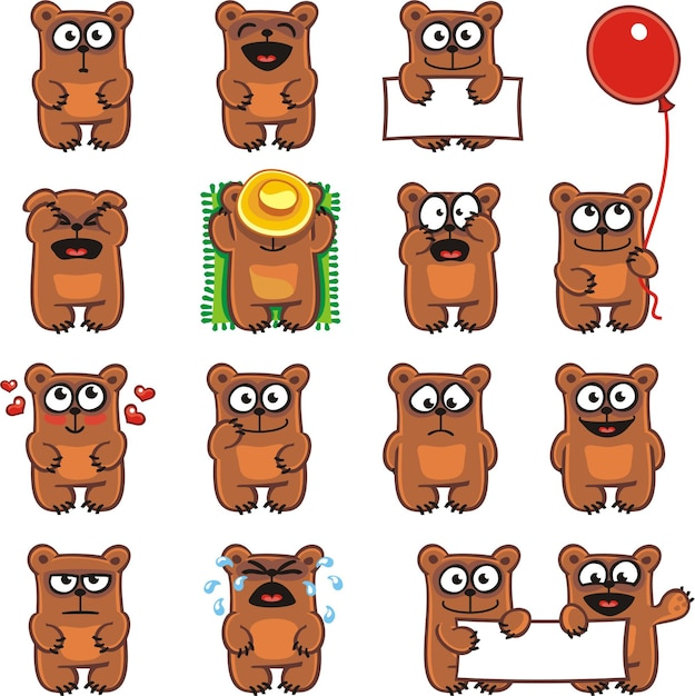 15 smiley bears individually grouped for easy copy-n-paste. Premium Vector
