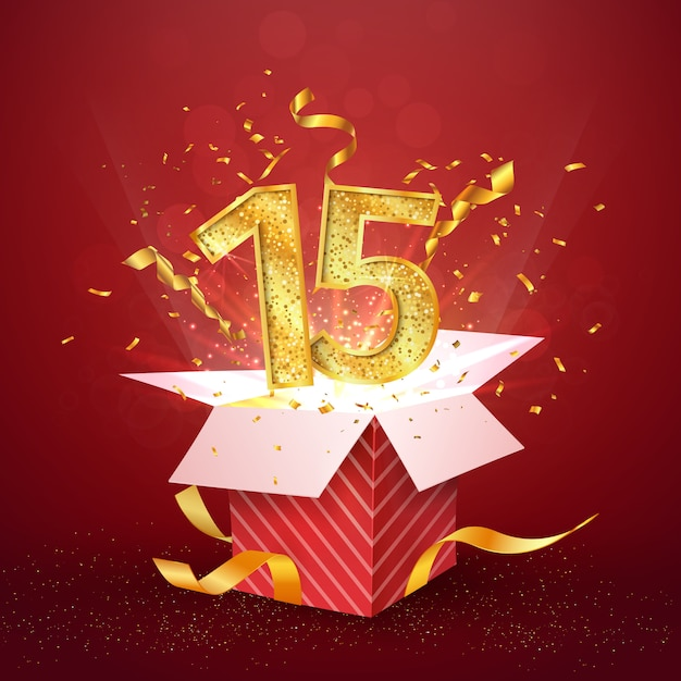 Premium Vector | 15 th years anniversary and open gift box with ...