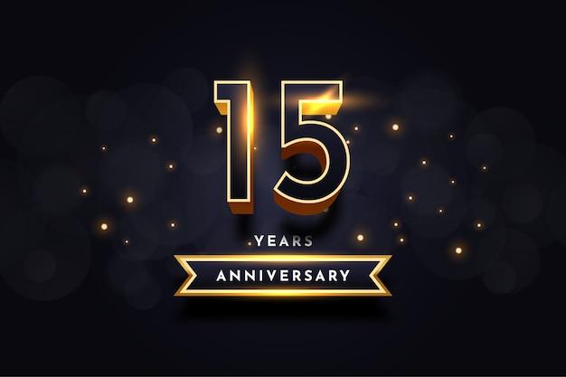 Дизайн шаблона иллюстрации празднования годовщины 15 лет Premium векторы