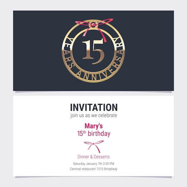 15 лет юбилейное приглашение на праздничное мероприятие векторные иллюстрации. элемент дизайна с номером и текстом для 15-летия открытки, приглашения на вечеринку Premium векторы