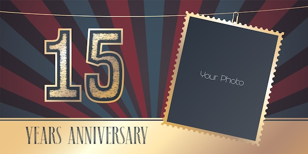 15 years anniversary with photo mockup in vintage style. Premium Vector