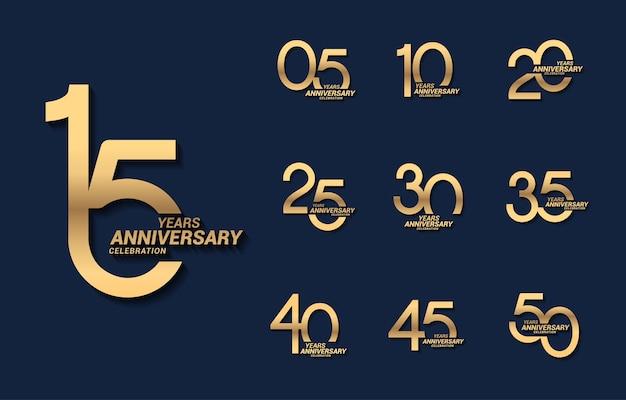 15 лет роскошный золотой юбилейный номер установить логотип Premium векторы