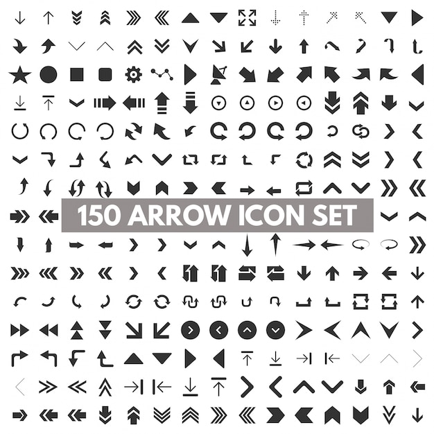 150 arrow icons Free Vector