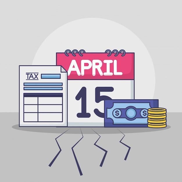 15 апреля. концепция уплаты налогов Бесплатные векторы
