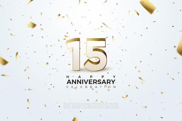 小さな金の紙のイラストを飛んで15周年の背景。 Premiumベクター