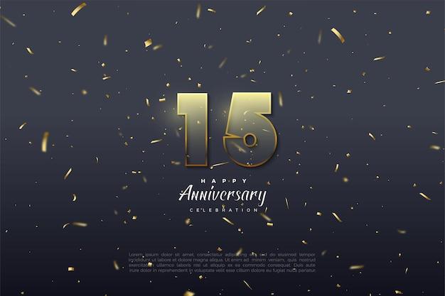 金色の黄色の段階的な数字のイラストとゴールドのストライプの数字で15周年の背景。 Premiumベクター