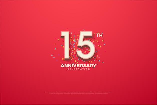 15-летие с трехмерными числами на ярко-красном фоне Premium векторы