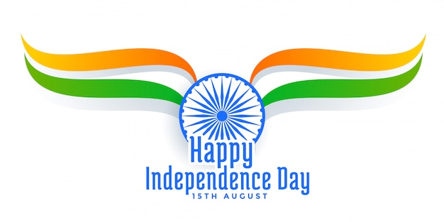 15th august happy independence day of india Free Vector