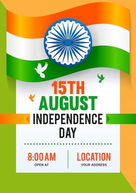 15th august, indian independence day poster template design. Premium Vector