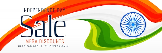 15th august indian independence day sale banner Free Vector