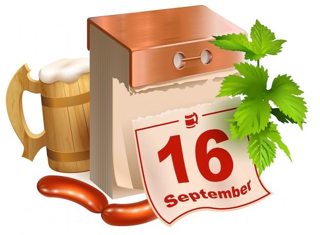 16 сентября 2017 г. октоберфест. символы пивного фестиваля деревянная пивная кружка, зеленые листья хмеля, отрывной календарь, жареные колбаски Premium векторы