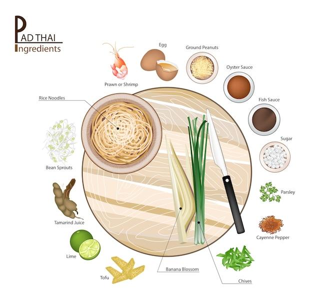 16成分パンタイまたはタイ揚げ麺 Premiumベクター