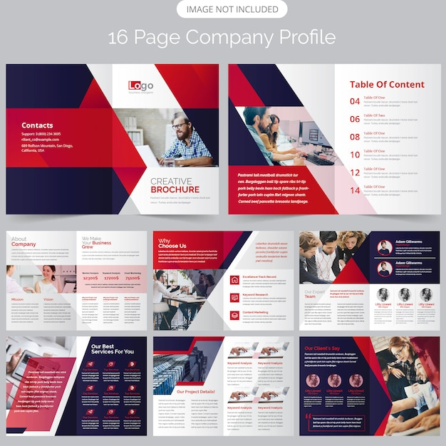 16 page company profile brochure Premium Vector