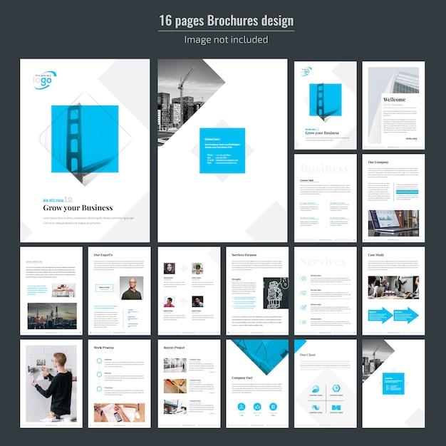 16 pages blue business brochure template Premium Vector