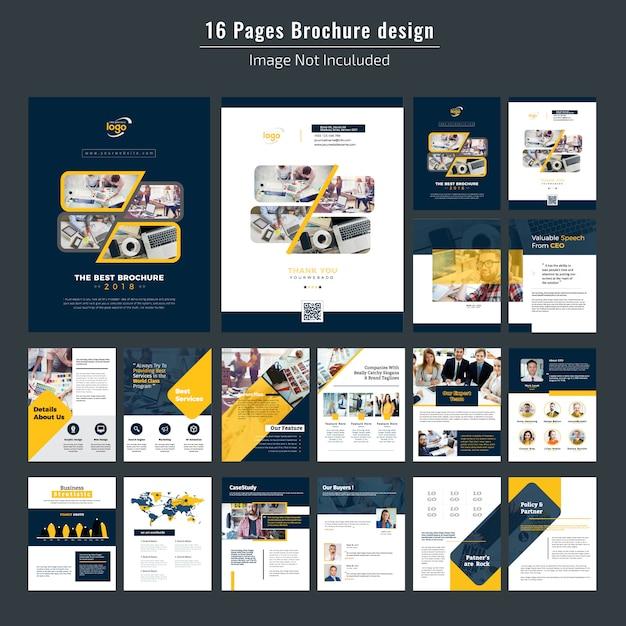 16 pages corporate brochure design Premium Vector