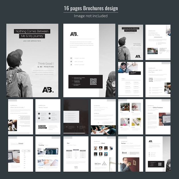 16 pages minimal business brochure template Premium Vector
