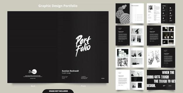 16ページのミニマリストブラックポートフォリオデザイン Premiumベクター