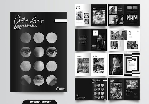 16ページのミニマリストブラックパンフレットデザイン Premiumベクター