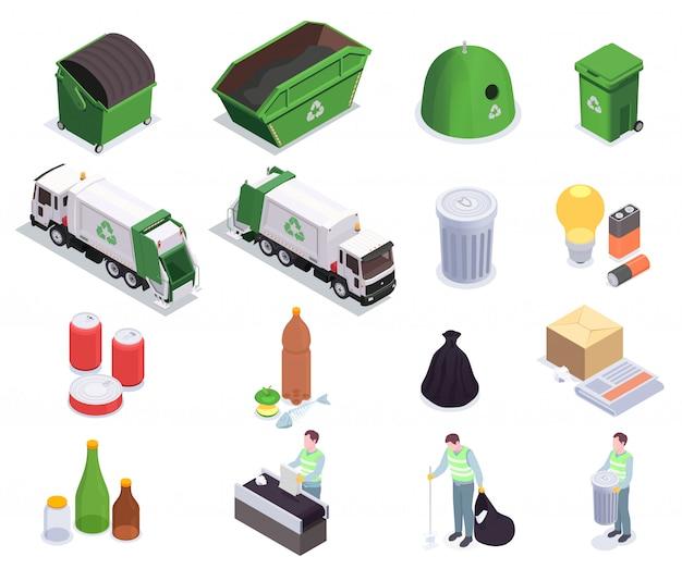 スカベンジャーとゴミ箱ベクトルイラストの人間のキャラクターと16のゴミ廃棄物リサイクル等尺性アイコンのセット 無料ベクター