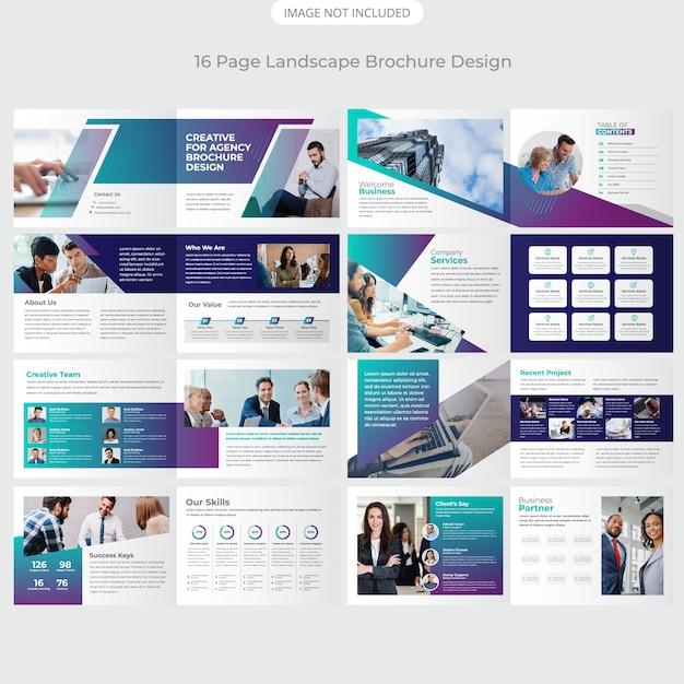 16ページ会社風景プロファイルデザイン Premiumベクター