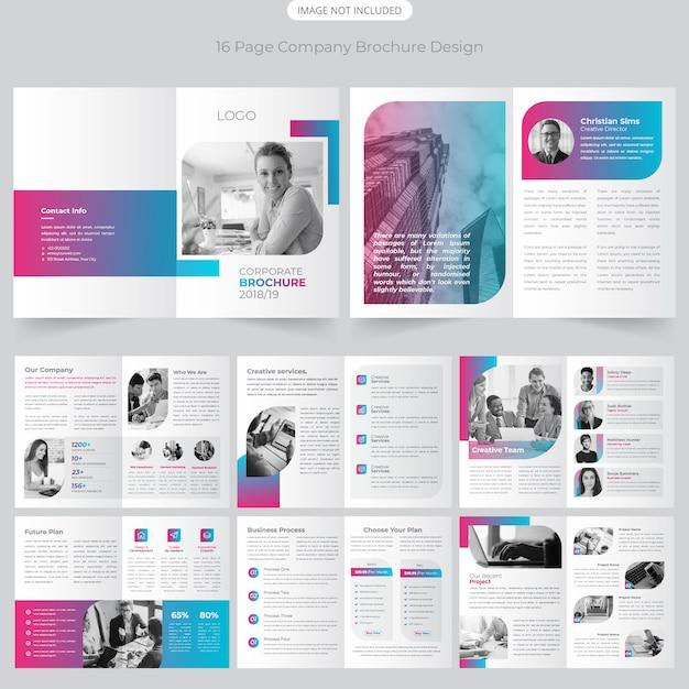 16ページ会社概要パンフレットのデザイン Premiumベクター