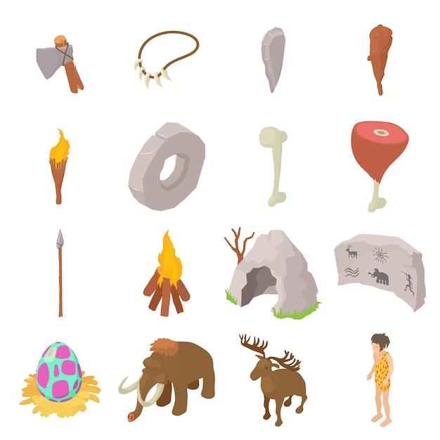 Установлены пещерные люди иконки. изометрическая иллюстрация 16 пещерных векторных иконок для веб Premium векторы