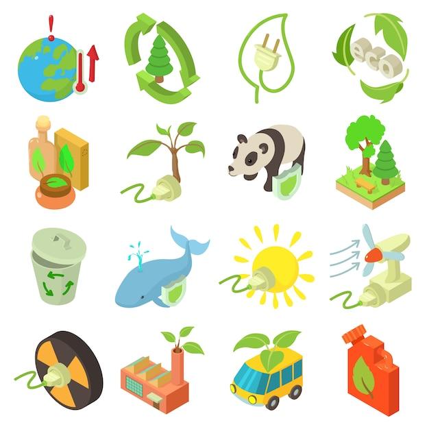 Набор иконок экологии. изометрическая иллюстрация 16 экологии векторных иконок для веб-сайтов Premium векторы